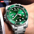 ARLANCH Luxus Männer Uhren Geschäfts Stahl Wasser-beweis Automatische Kalender Grün Quarz Armbanduhr Für Männer Relogio Masculino