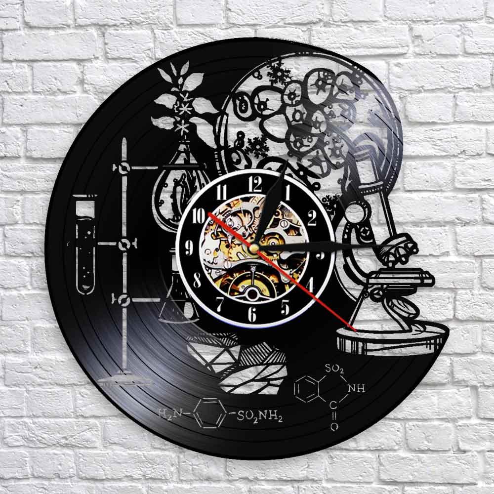 Biology Chemistry Science Instrument Wall Clock Oxygen Molecule Chemical Formula Wall Art Decor Vinyl Record Wall Clocks