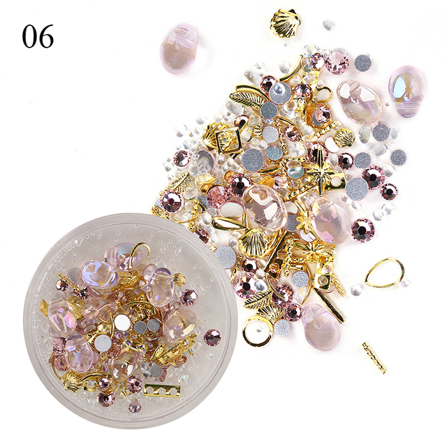 1 Box Mixed 3D Rhinestones Nail Art Decorations Crystal Gems Jewelry Gold AB Shiny Stones Charm Glass Manicure Accessories