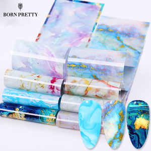 10 Pcs Nail Foil Nail Art Stickers With Color Marble Flower Gilding Pattern Nail Transfer Foil Accessories for Manicuring Design