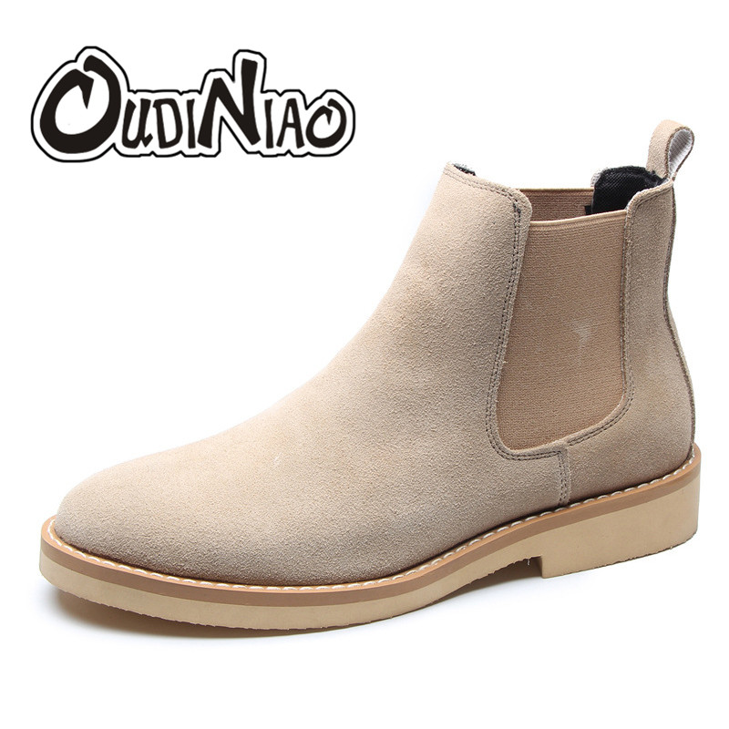 OUDINIAO Spring Fashion Chelsea Boots Men Slip On Faux Suede Cowboy Boots Mens Round Men Ankle Boots