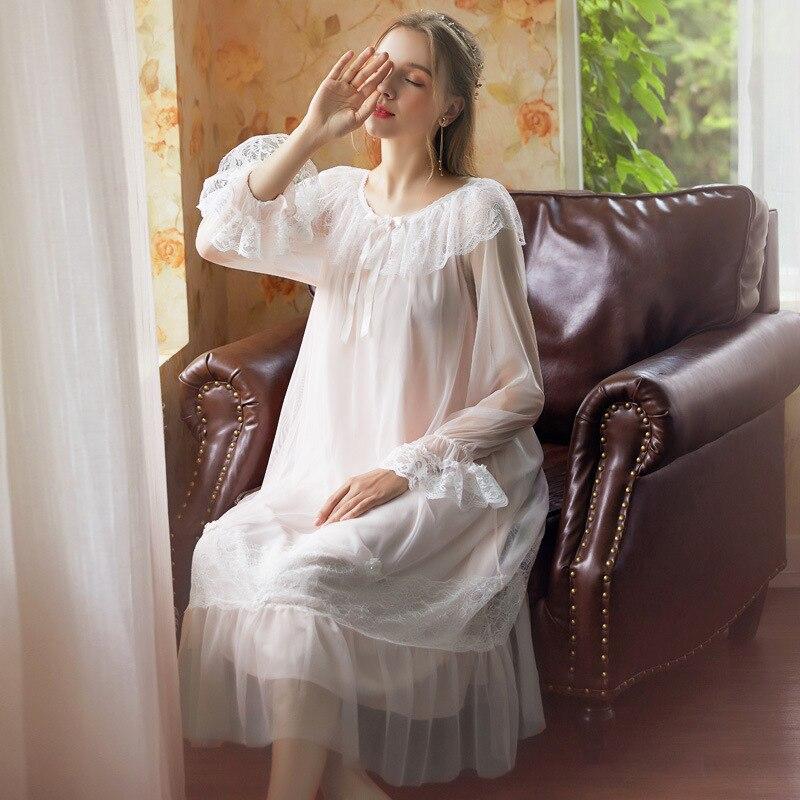 2019 Sexy Victorian Sleep Wear Night Dress Vintage Nightgown Long Sleeve Nightdress Pink Cotton Sleepwear Women Nightshirt