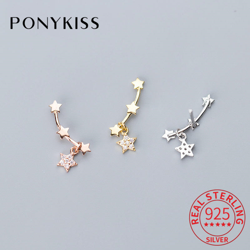 PONYKISS Real 925 Sterling Silver Zircon Star Stud Earrings Party Delicate Romantic Earrings Accessory Girl Birthday Lovely Gift