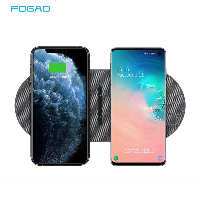 20W Fast Wireless Charging Station For Samsung S20 S10 Dual 10W 2 in 1 Wireless Charger Pad for iPhone 11 XS XR X 8 Airpods Pro