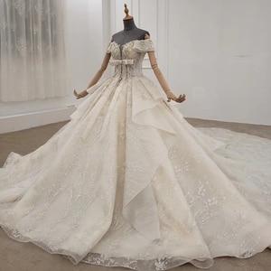 Image 4 - HTL1249 2020 sparkly งานแต่งงานชุดปิดไหล่แขนสั้นประดับด้วยลูกปัด applique โบว์ Petite งานแต่งงานชุด платье на выпускной