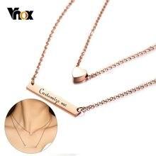 Vnox konfigurowalny kobiety Chokers 585 różowe złoto kolor sztabka ze stali nierdzewnej z AAA CZ kamień kobiet naszyjniki prezent na walentynki