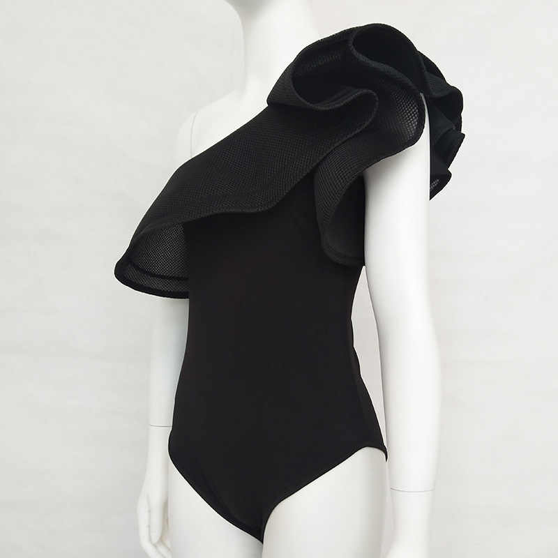 Sexy de un hombro con la espalda al descubierto Bodysuit mujeres peleles de malla volantes gótico negro playa Tops verano rojo Casual fiesta Skinny Body Suit