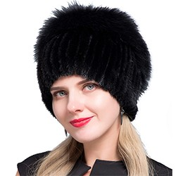 Middle aged women in the winter: mink fur women's knitted sweater hat new fashion European and American cat style ski caps 12