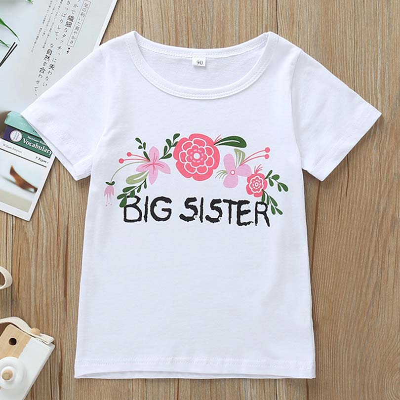 Outfits Matching Tops T-Shirt Girl Baby Little Cotton Kid Jumpsuit Big Sister Tee Romper