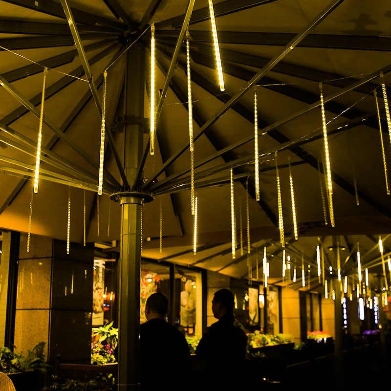 2019 новый год, 30 см, 50 см, метеоритный дождь, 8 трубок, светодиодный прожектор, водонепроницаемый для наружного рождественского декора, дерево с вилкой
