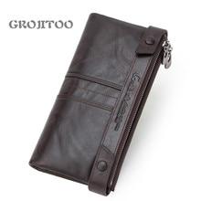 GROJITOO tide RFID anti-theft brush genuine leather men's long wallet multi-functional men's handbag   card holder wallet