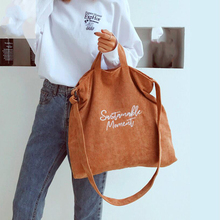 Women Corduroy Canvas Tote Ladies Casual Shoulder Bag Shoppi