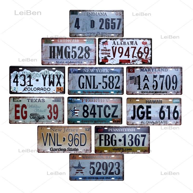 Car Number Vintage Metal Tin Sign American Car License Plate Retro Poster Bar Cafe Garage Decoration Wall Sticker Metal Plaque