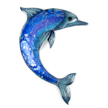 Liffy Metal Dolphin Wall Decor With Blue Painting Glass for Garden Decoration Outdoor Statues and Sculptures Animal