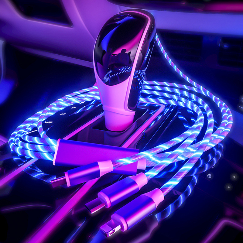 Magnetic USB Cable Fast Charging 360 Degree Magnetic Data Line, Car Interior Atmosphere Light, Auto Accessories  Car Data Line