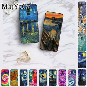 Van Gogh Starry Night star flower Palette Scream by Munch silicone Phone case For samsung Galaxy A10S A8 A6 A7 A9 A10 A50 A70(China)