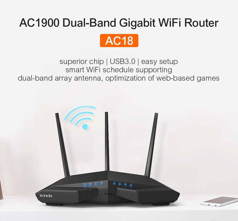 Tenda AC18 enrutador inalámbrico wifi 256M Ram CPU de doble núcleo 1WAN + 4LAN puertos Gigabit repetidor WiFi de doble banda 11AC1900M Gigabit USB 3,0 - 2