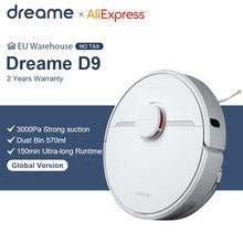 Dreame d9 robô aspirador de pó versão global 3000pa sucção varrendo lavagem esfregar robô aspirador casa inteligente mijia app wifi