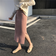 Новинка, женские юбки с высокой талией, осенне-зимняя модная теплая кашемировая трикотажная юбка-карандаш, юбка средней длины в рубчик, 43-73 см