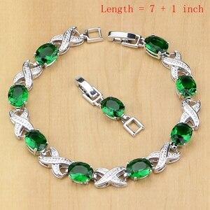 Image 2 - 925 Sterling Silver Jewelry Green Zircon White CZ Jewelry Sets Women Earrings/Pendant/Necklace/Rings/Bracelet T225