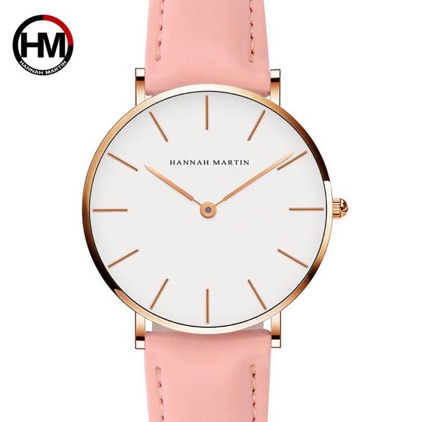 HANNAH MARTIN Women Ladies Female Clock Top Brand Luxury Pink Fashion Quartz Leather Watches Drop Shipping Relogio Feminino