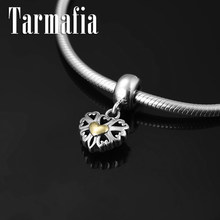 Authentic 100% 925 Sterling Silver gold heart Charm Pendant Beads Fit Original Pandora Pendant Bracelet DIY Jewelry making(China)