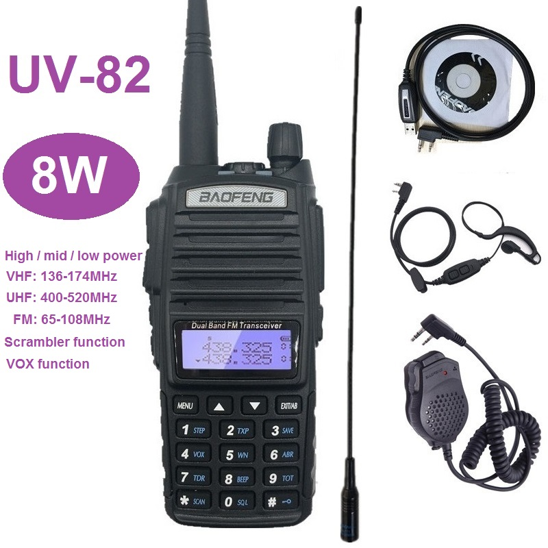 BAOFENG UV-82 8W HF Transceiver Radio Comunicador Powerful Walkie Talkies Long Range UV82 UHF VHF UV82 Ham CB Radio Scanner