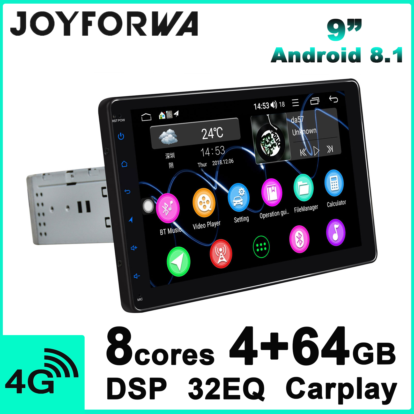 Car Accessories 9 Car Stereo Auto 1 Din Android Radio Tape Recorder GPS Navi Universal Head Unit Carplay Androidauto TPMS DVR image