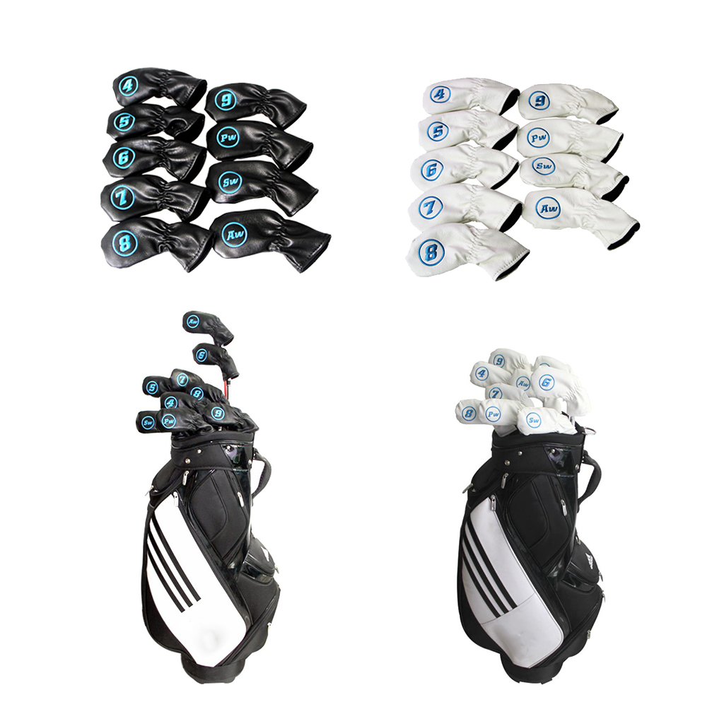 9pcs Golf Protective Club Covers Irons Headcover Gloves Iron Putter Cover Embroidery 4 5 6 7 8 9 AW SW PW