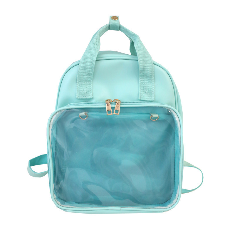 Women Ita Bag Candy Color School Bags For Teenage Girls Transparent Backpacks Fashion Solid PU Leather Travel Backpack Mochila