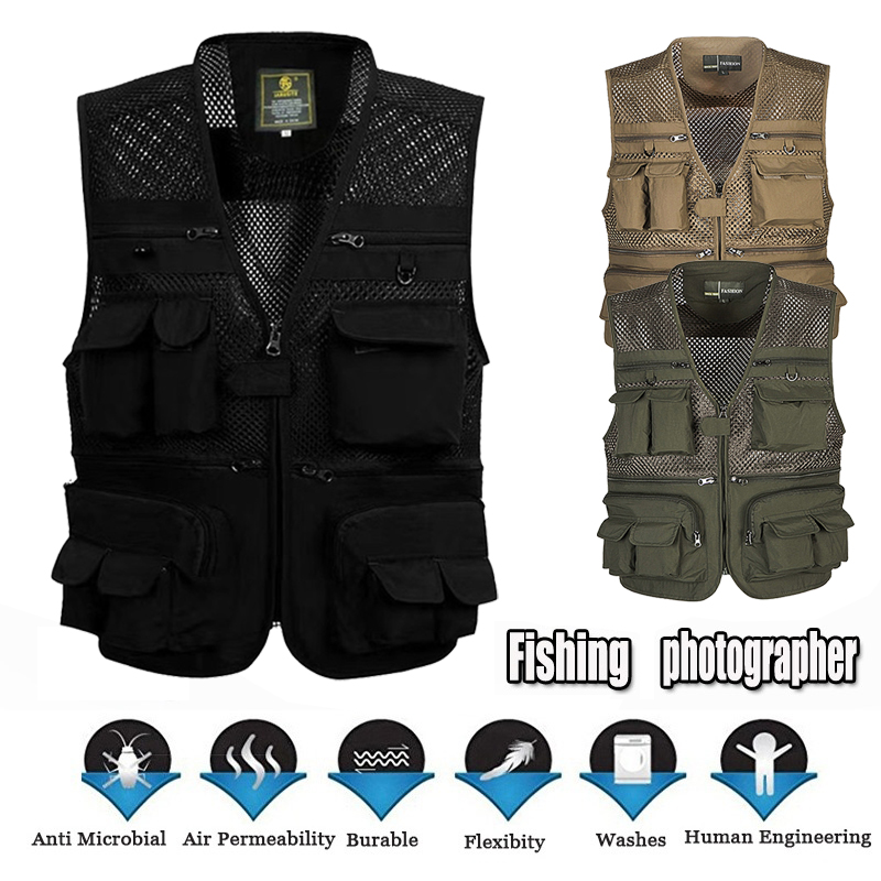 Men/'s Mesh Photography Fishing Travel Outdoor Quick Dry Breathable Jackets W3R6