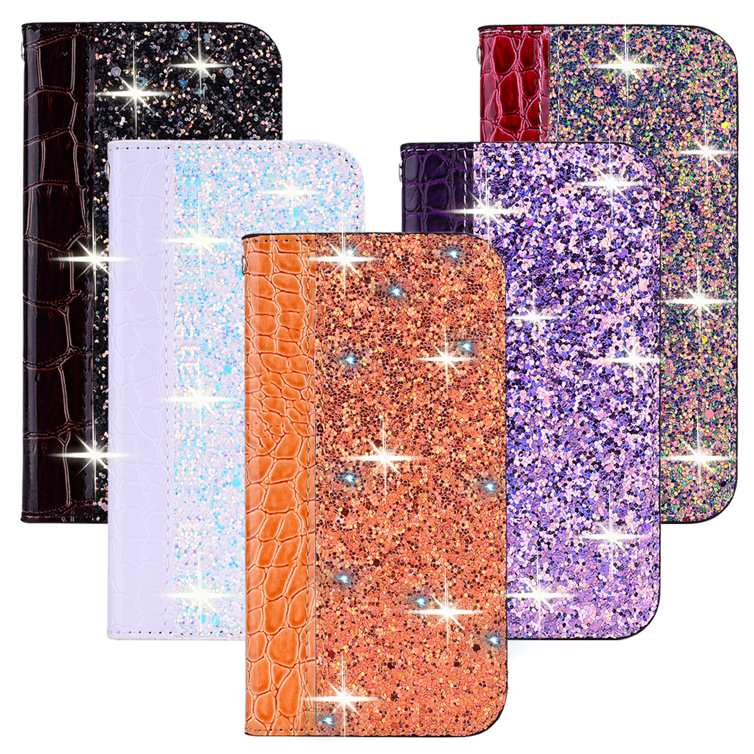 Glitter Bling <font><b>Case</b></font> For <font><b>Samsung</b></font> J3 J4 J5 J6 <font><b>J7</b></font> J8 <font><b>2017</b></font> Leather <font><b>Flip</b></font> Book <font><b>Case</b></font> Coque for Galaxy A50 A70 A40 A6 Plus A7 A5 A8 2018 image