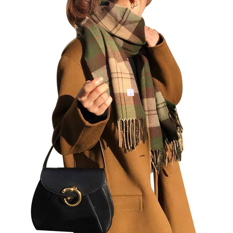 Autumn Winter New Korean Thick Warm Wool Blends Scarf Women Twill Plaid Fringed Female Shawl Soft Long Woman Scarves Wraps