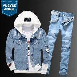 Повседневная мужская ковбойская куртка с капюшоном, джинсы на молнии, комплект из двух предметов, уличный однобортный рваный синий джинсов...