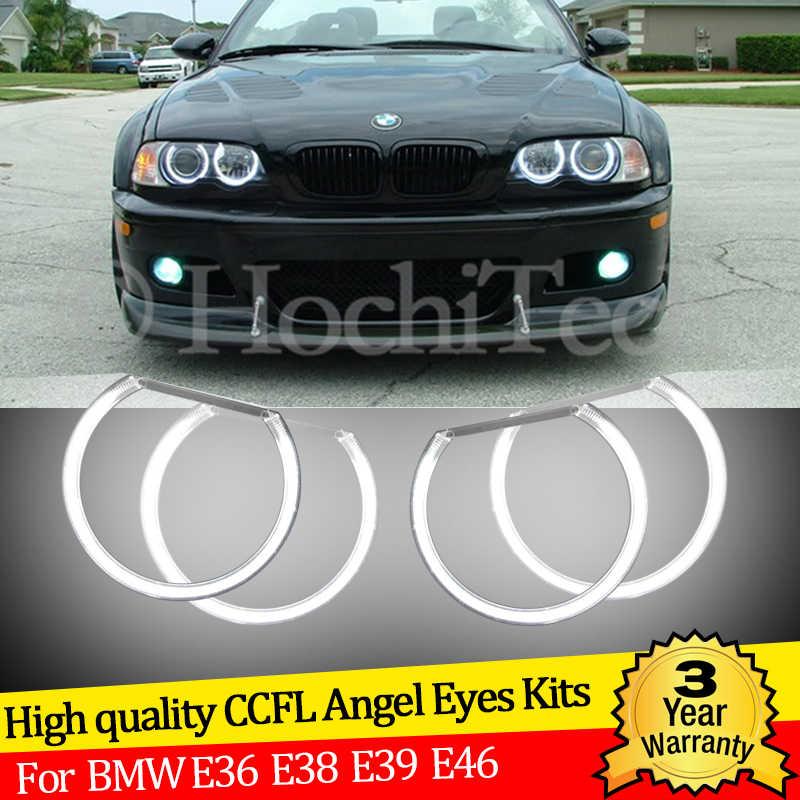 3 yıl garanti yüksek kaliteli 4x131mm CCFL melek gözler kiti sıcak beyaz ışık halkası BMW 3 5 için 7 serisi E36 E38 E39 E46 şeytan göz