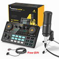 MAONOCASTER LITE AM200-S1 все-в-на микрофон смеситель комплект звуковая карта аудио подкастер с конденсаторным микрофоном и наушники для телефона Tiktok