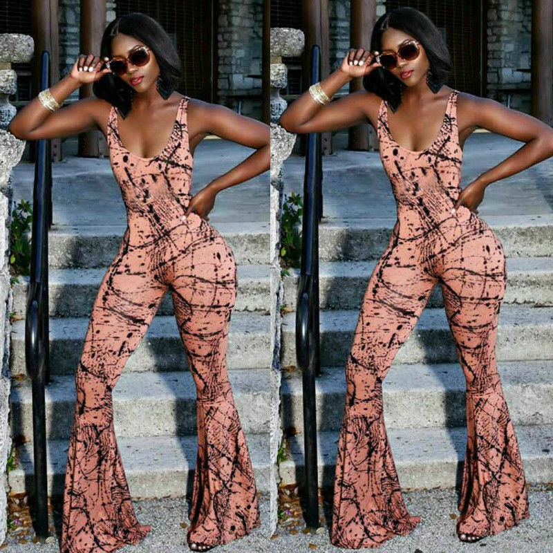 Womens Clubwear Playsuit Spaghetti Strap Printed Bodycon Jumpsuit Romper Wid Leg Trousers Pants