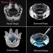 1Pc Vierkante Cup Acryl Liquid Schotel Rainbow Crystal Clear Kroon Glazen Beker Met Deksel Kom Voor Acryl Poeder Nail art Tool Kit