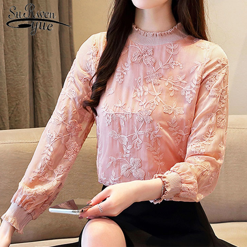 2019 Autumn Fashion Women Lace Floral Chiffon Blouses Casual Embroidery Women Clothing Long Sleeve Turtleneck Women Tops 6262 50