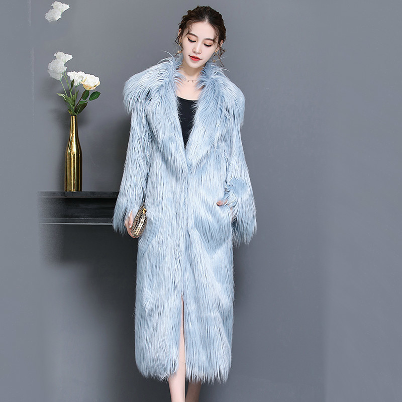 Big Fur Faux Wool Coat Female Jacket Autumn Winter Coat Women Clothes 2020 Korean Vintage Warm Long Tops Manteau Femme ZT4624