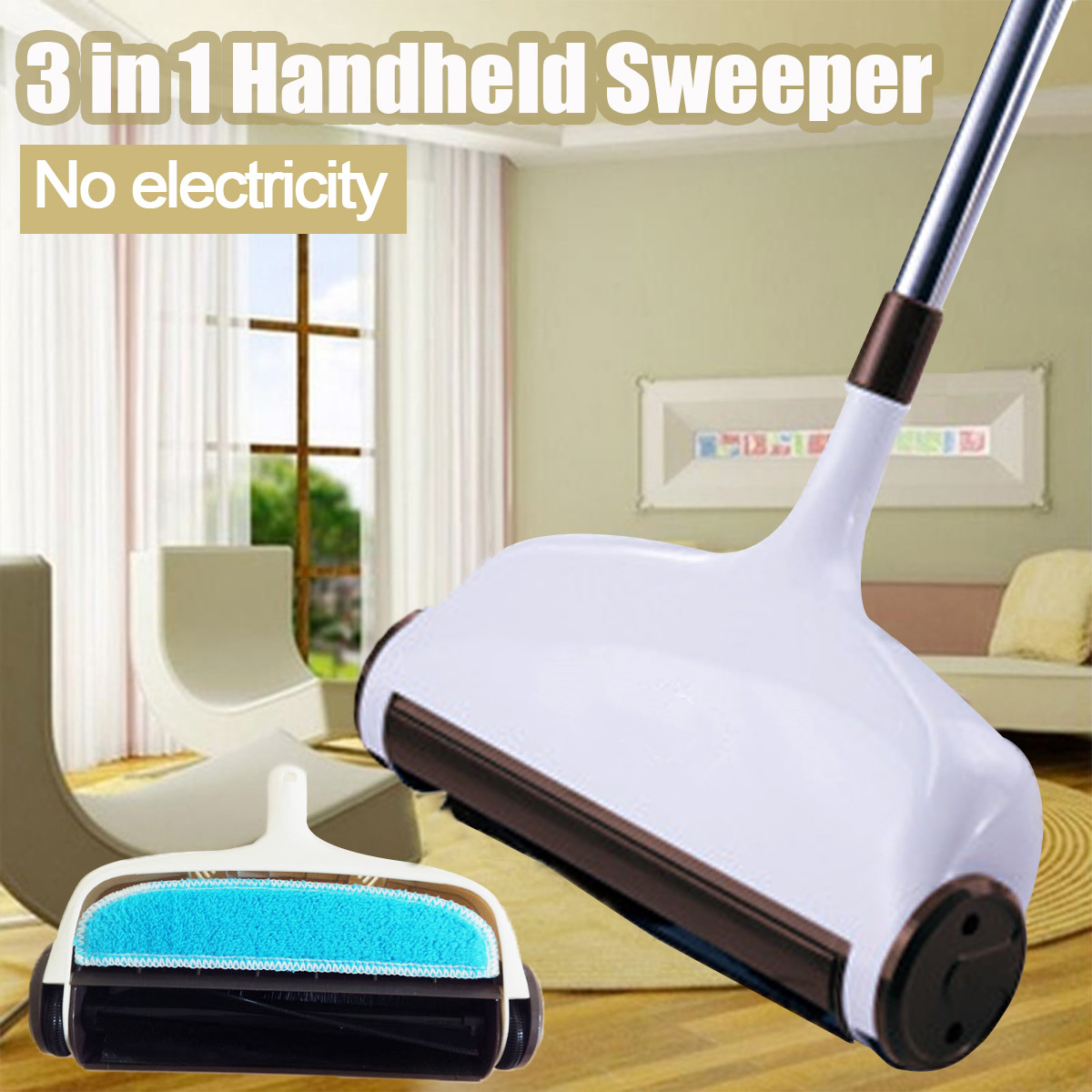 Sweeping-Machine Floor-Dust Hand-Push Stainless 360-Degree Litter Long-Handle Rotatable