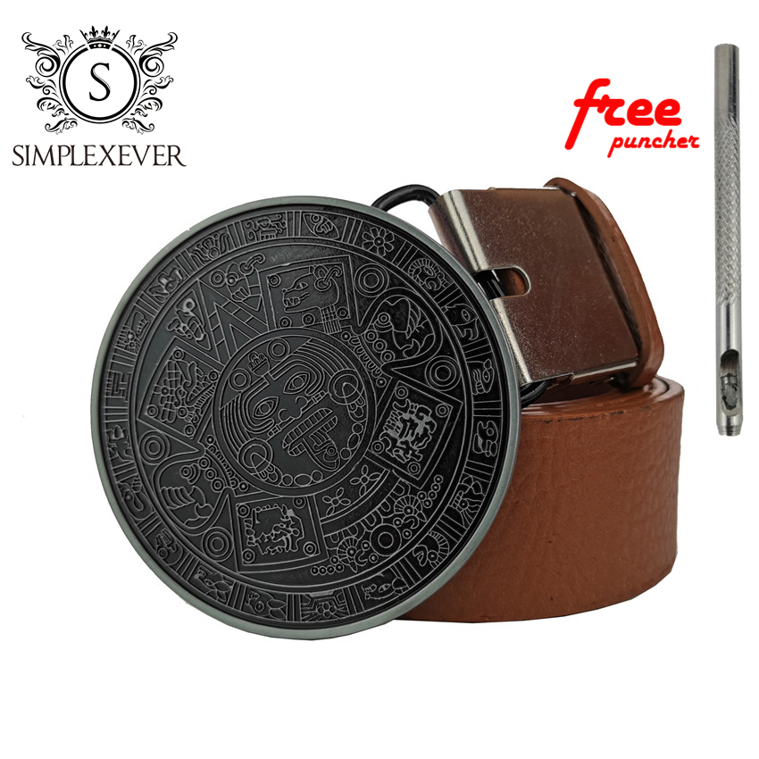 Retro Maya Round Belt Buckle With Leather Belt Solid Silver Belt Buckles For Men's New Year Gifts