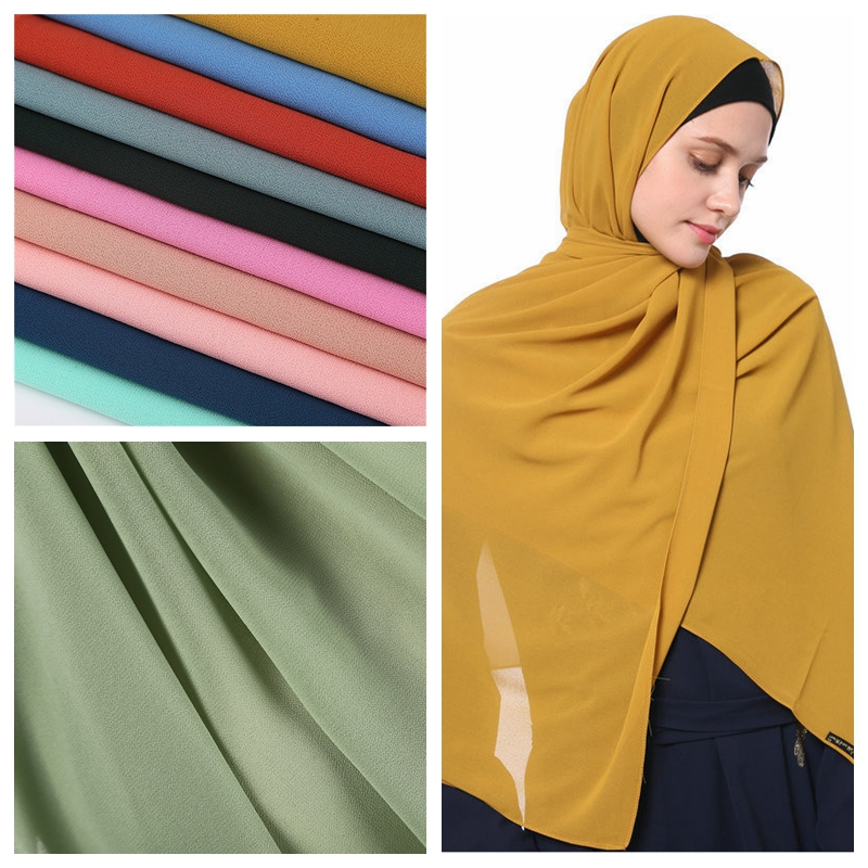 2020 New Elegant Modest Women Bubble Chiffon Solid Oversizes Muslim Head Scarf Ladies Shawl And Wrap Female Foulard Hijab Stoles