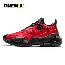 ONEMIX erkekler Sneakers teknoloji tarzı deri sönümleme rahat erkek kırmızı spor koşu ayakkabıları kadın platformu Retro baba ayakkabı