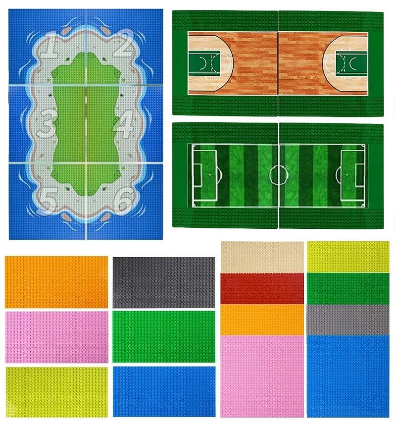 Classic Base Plate Basketball Court Football Field Baseplate LEGOs Plate Sea Island Oasis Scene DIY Building Block Set Brick Toy