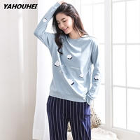 Autumn Winter Pyjama Femme Cute Cotton Pajamas Sets Striped trousers Sleepwear Suit Pijamas Mujer Home Clothes For Women