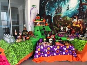 Image 4 - Capisco Foto Achtergrond Halloween Kasteel Fotografieachtergrond Heks Kraaien Pompoen Maan Begraafplaats Cartoon Photostudio Props