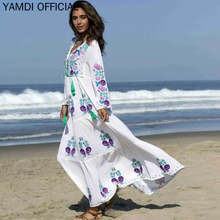 YAMDI Print Floral Embroidery Dresses Female Summer Autumn Long Sleeve Dress Casual Hgh Waist Lace Up Elastic Women Maxi Dress V(China)