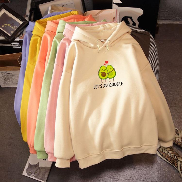 Avocado Printed Letter Creative Winter Sweatshirt Streetwear Cute Pullover Oversized Hoodie Kpop Sweet Long-sleeved Pocket