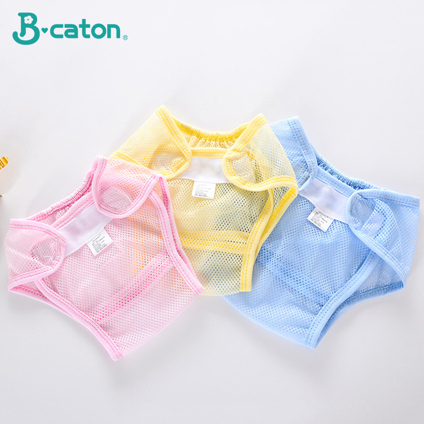 Baby Summer Diaper Pants Mesh Ventilation Boys And Girls Pants Adjustable Size Reuse Blue Yellow Powder Diapers  0-2 Years Old